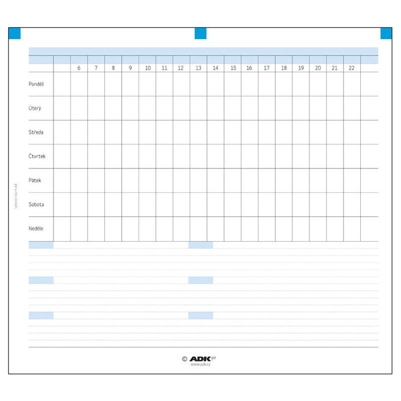 Formulář Týdenní rozvrh A4 (2 dvojlisty)