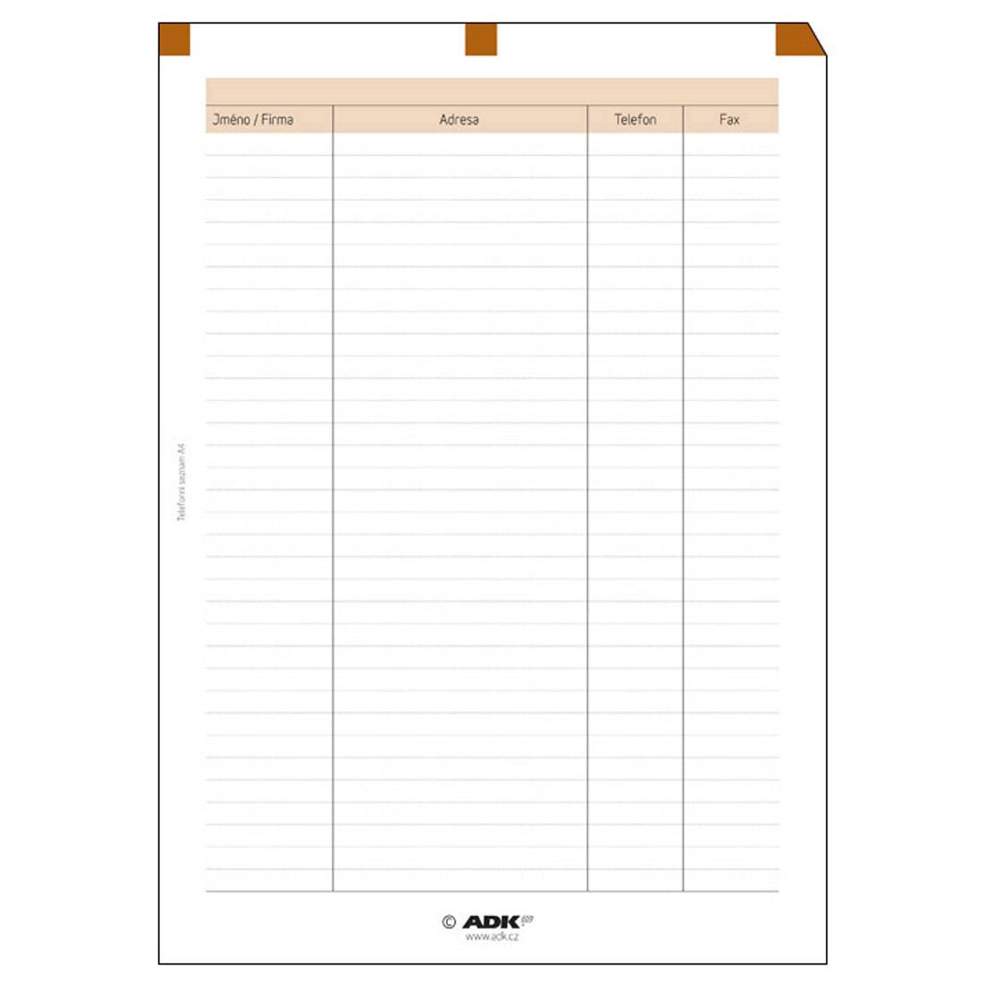 Formulář Telefonní seznam A4 (5 listů)