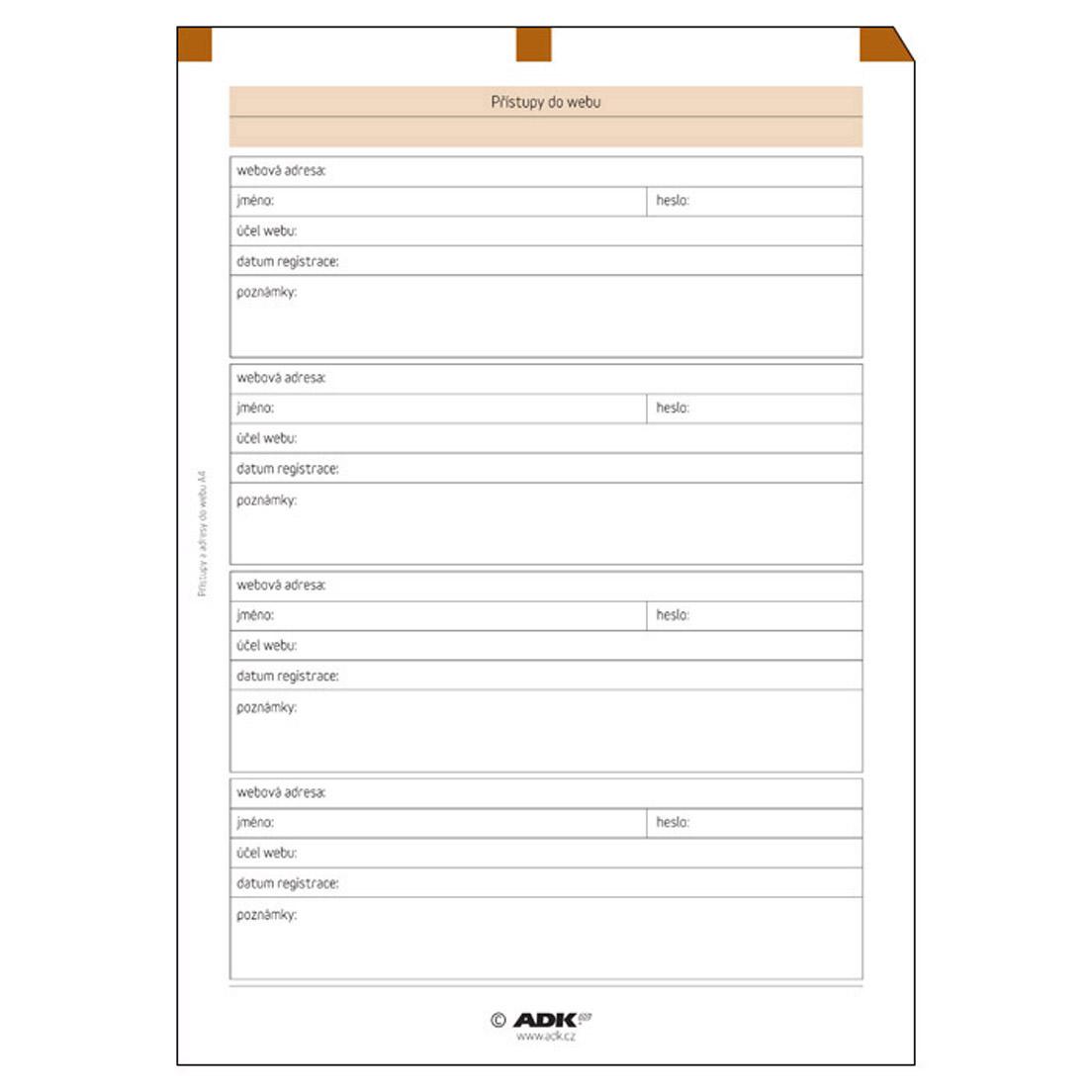 Formulář Přístupy do webu A4 (5 listů)