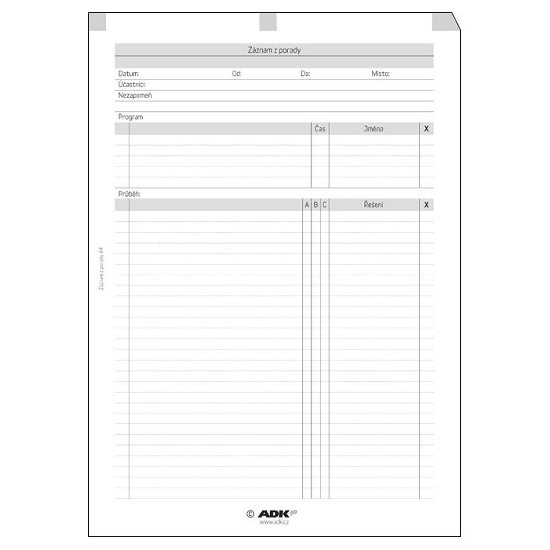 Formulář Záznam z porady A4 (10 listů)