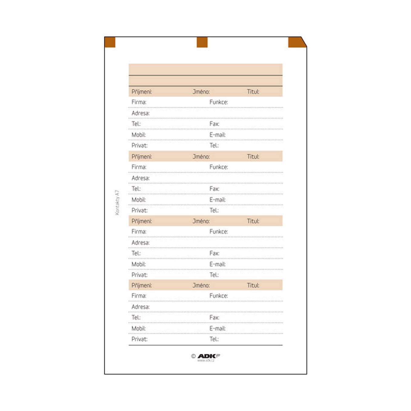 Formulář Kontakty A7 (10 listů)