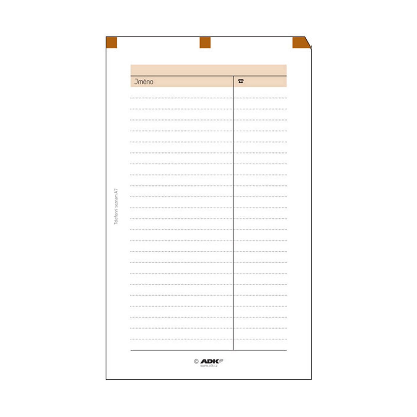 Formulář Telefonní seznam A7 (10 listů)