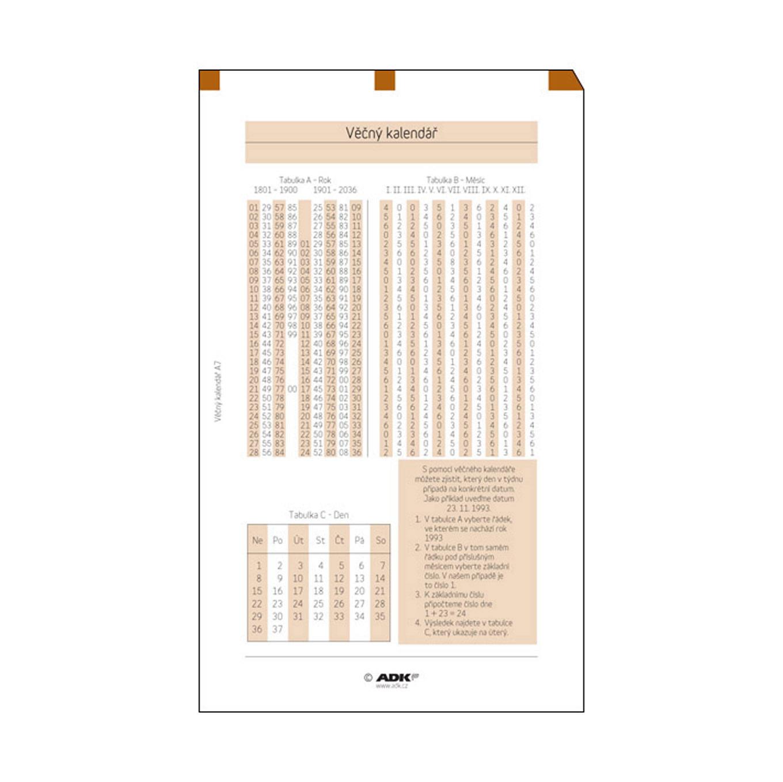 Formulář Věčný kalendář A7 (1 list)