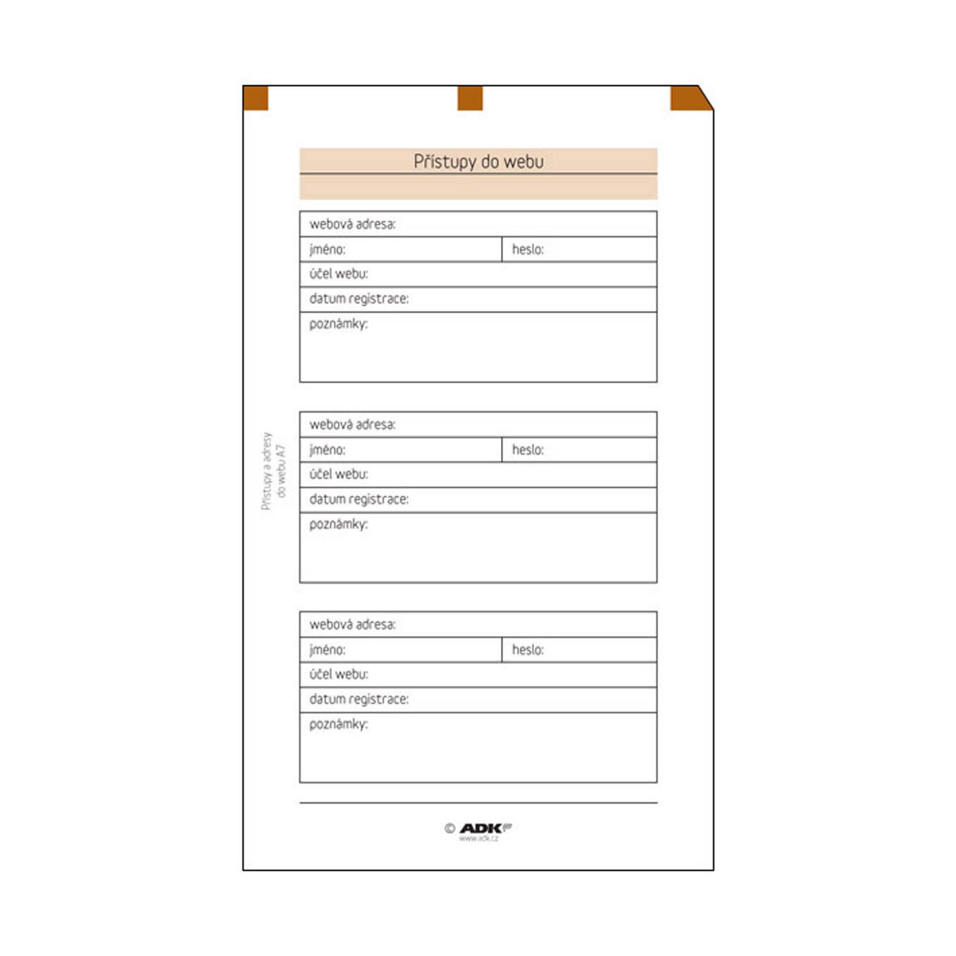 Formulář Přístupy do webu A7 (10 listů)