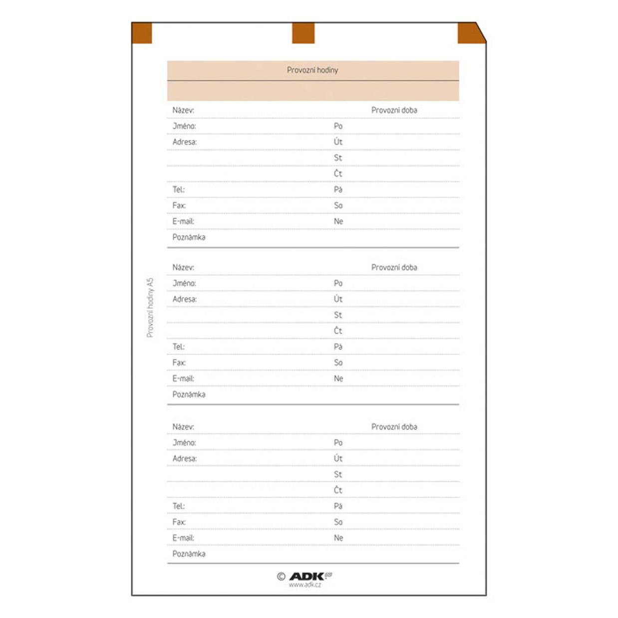 Formulář Provozní hodiny A6 (5 listů)
