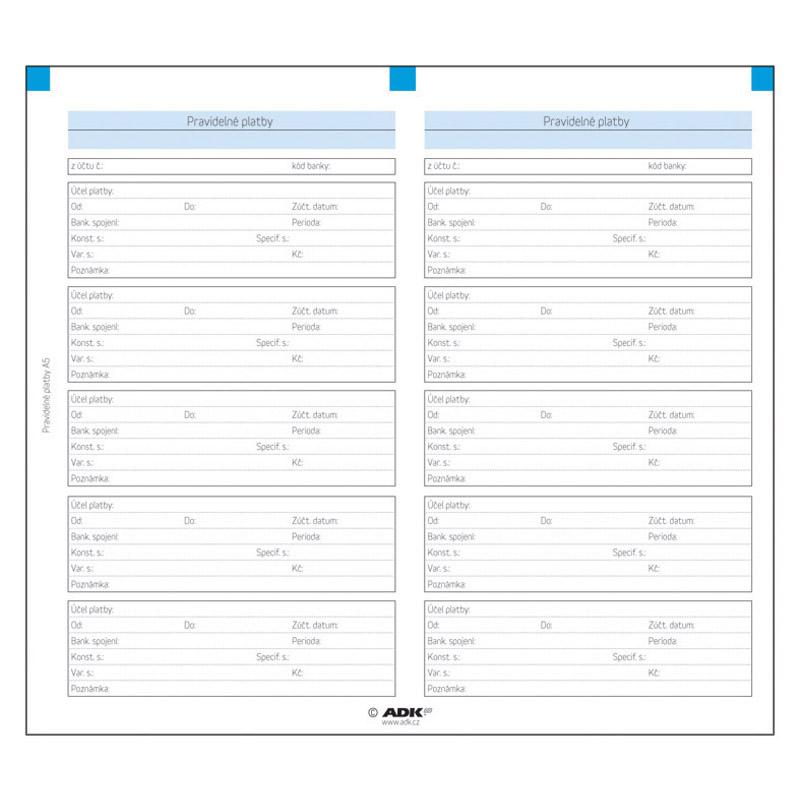 Formulář Pravidelné platby A6 (2 dvojlisty)