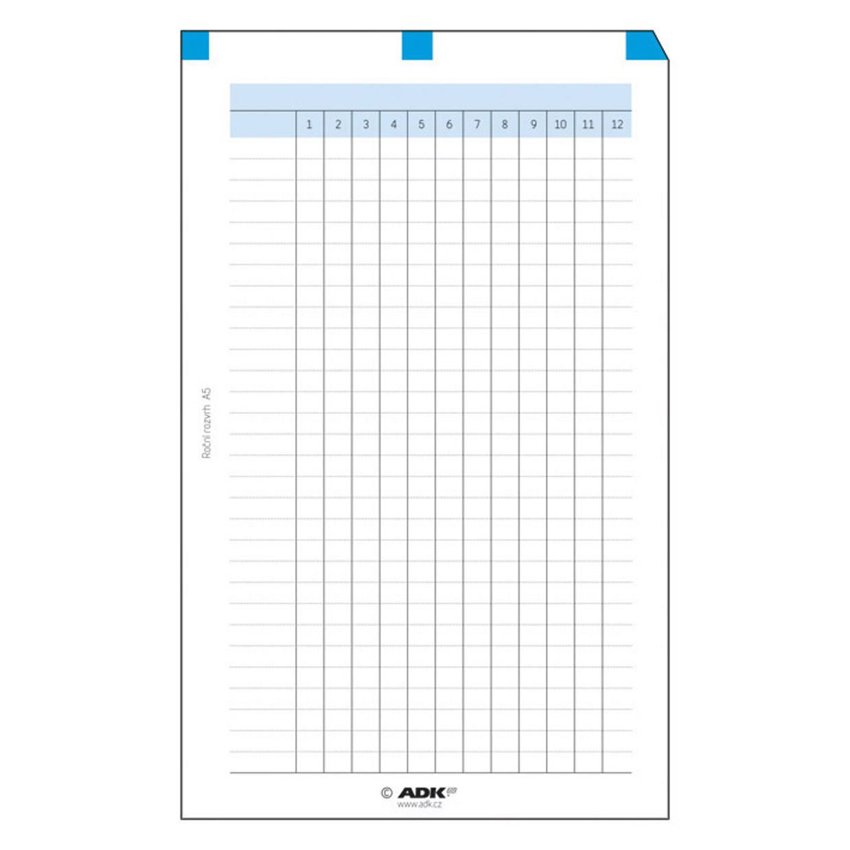 Formulář Roční rozvrh A6 (5 listů)