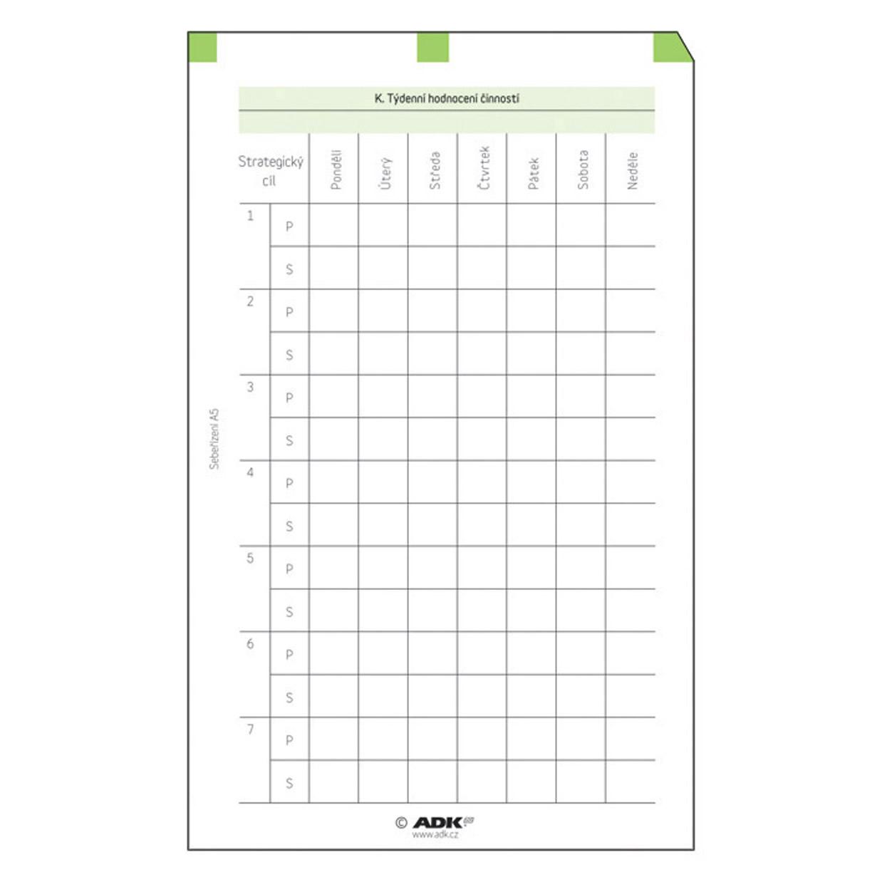 Formulář Sebeřízení - hodnocení A6 (19 listů)