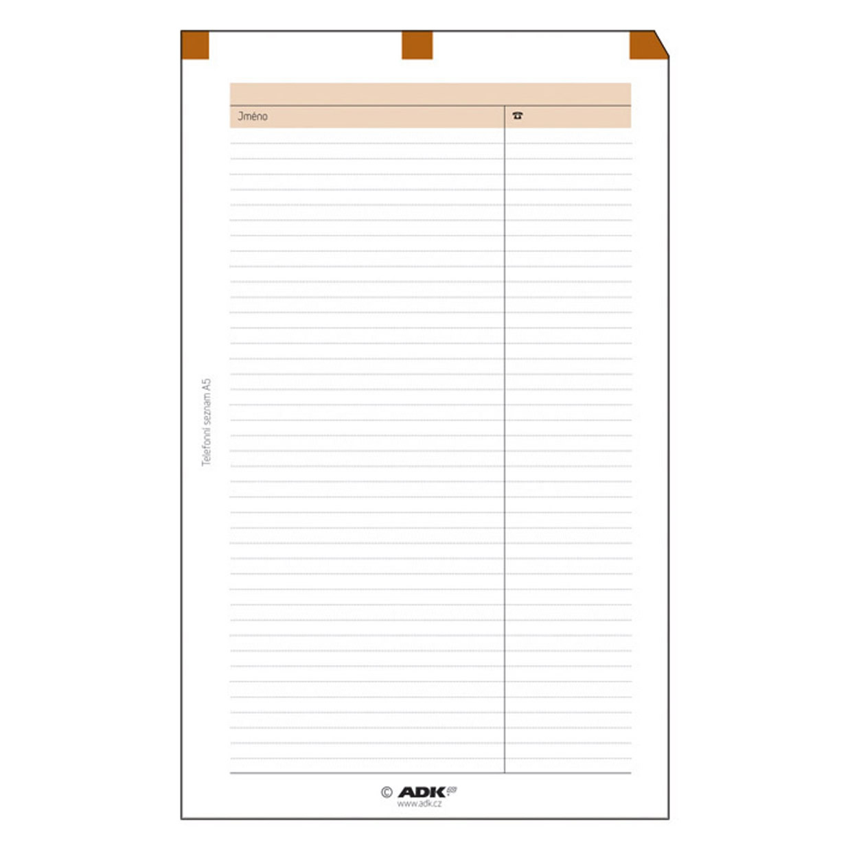 Formulář Telefonní seznam A6 (5 listů)