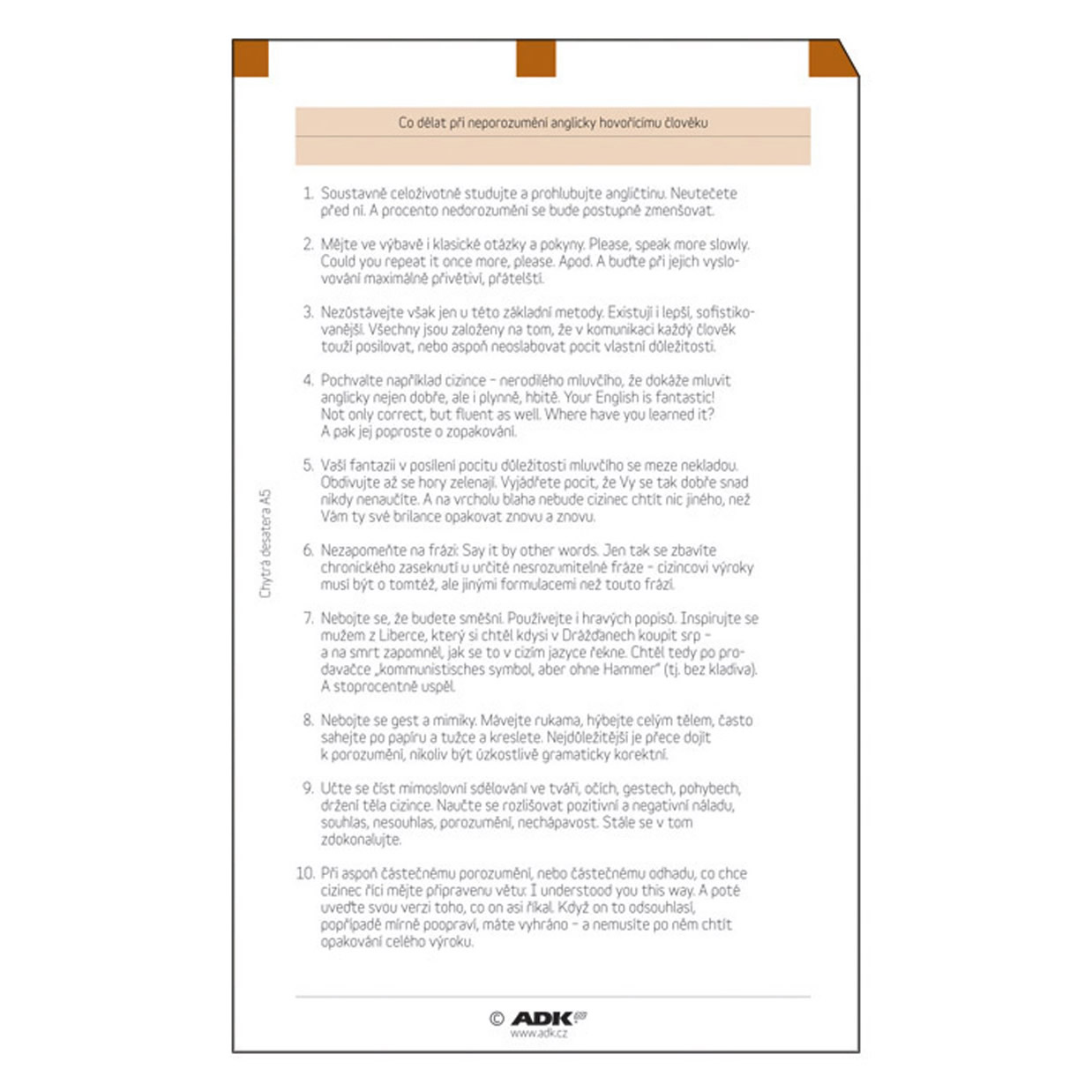Formulář Chytrá desatera A5 (6 listů)
