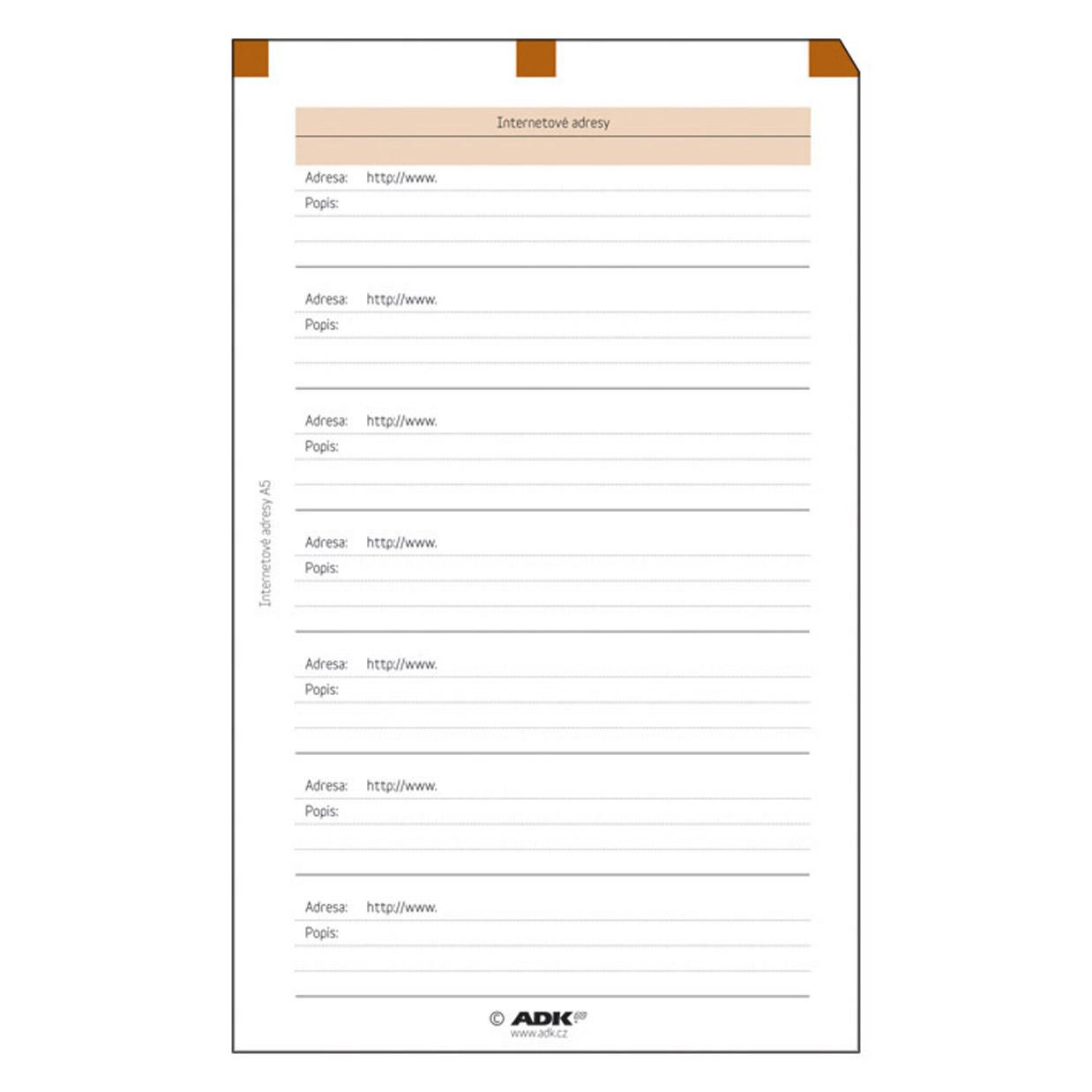 Formulář Internetové adresy A5 (5 listů)