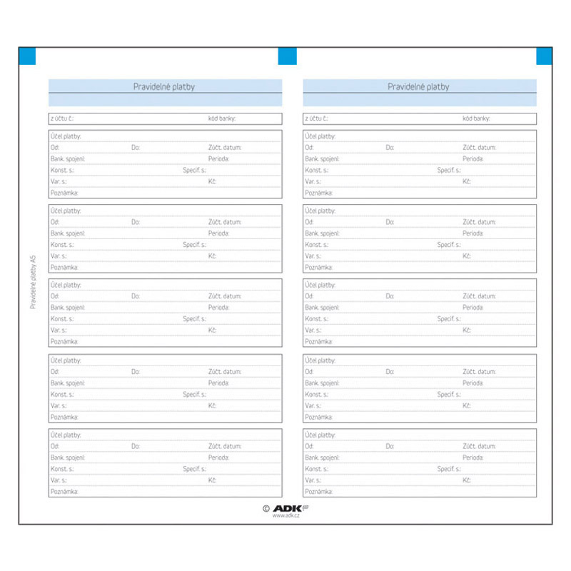 Formulář Pravidelné platby A5 (4 dvojlisty)