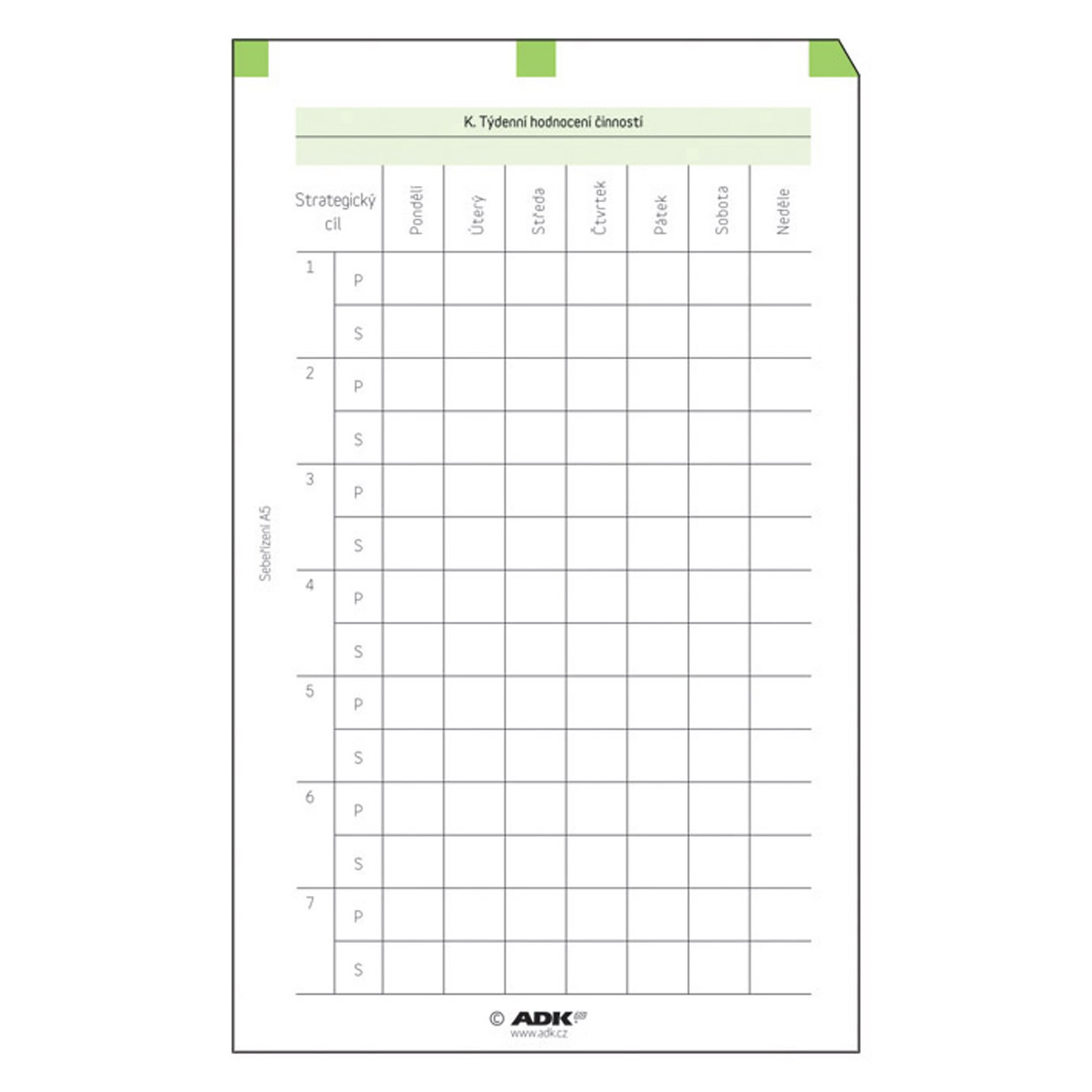 Formulář Sebeřízení - hodnocení A5 (19 listů)