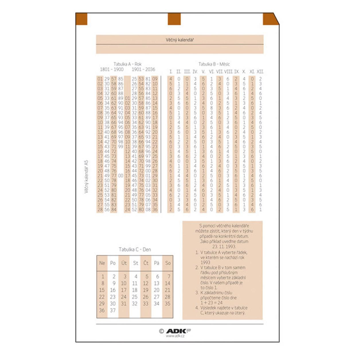 Formulář Věčný kalendář A5 (1 list)