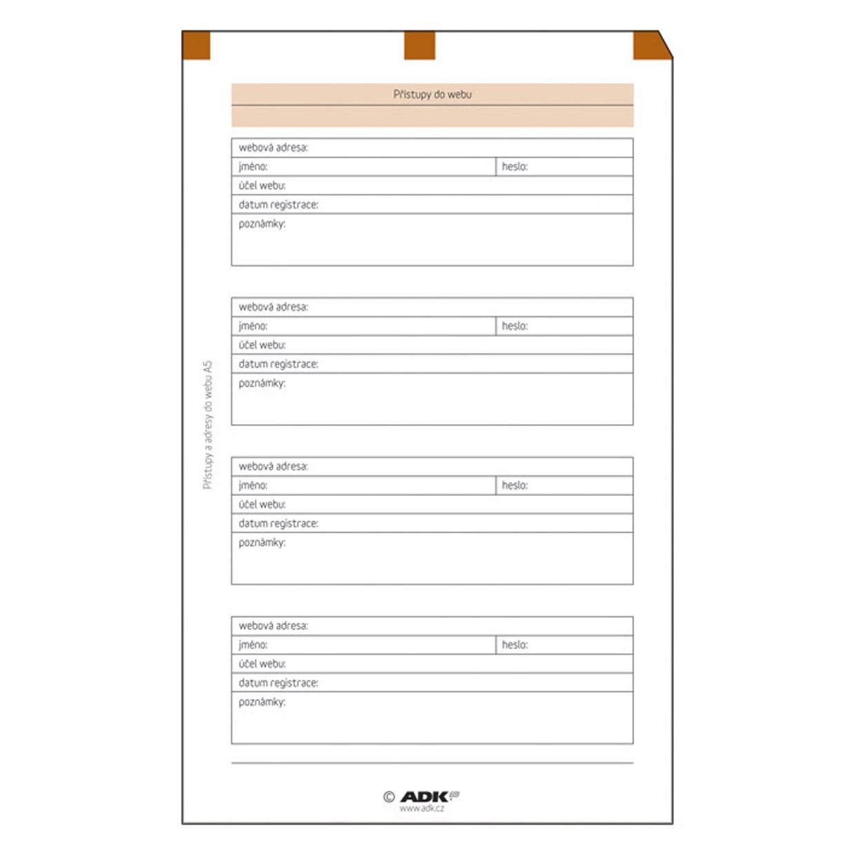 Formulář Přístupy do webu A5 (5 listů)