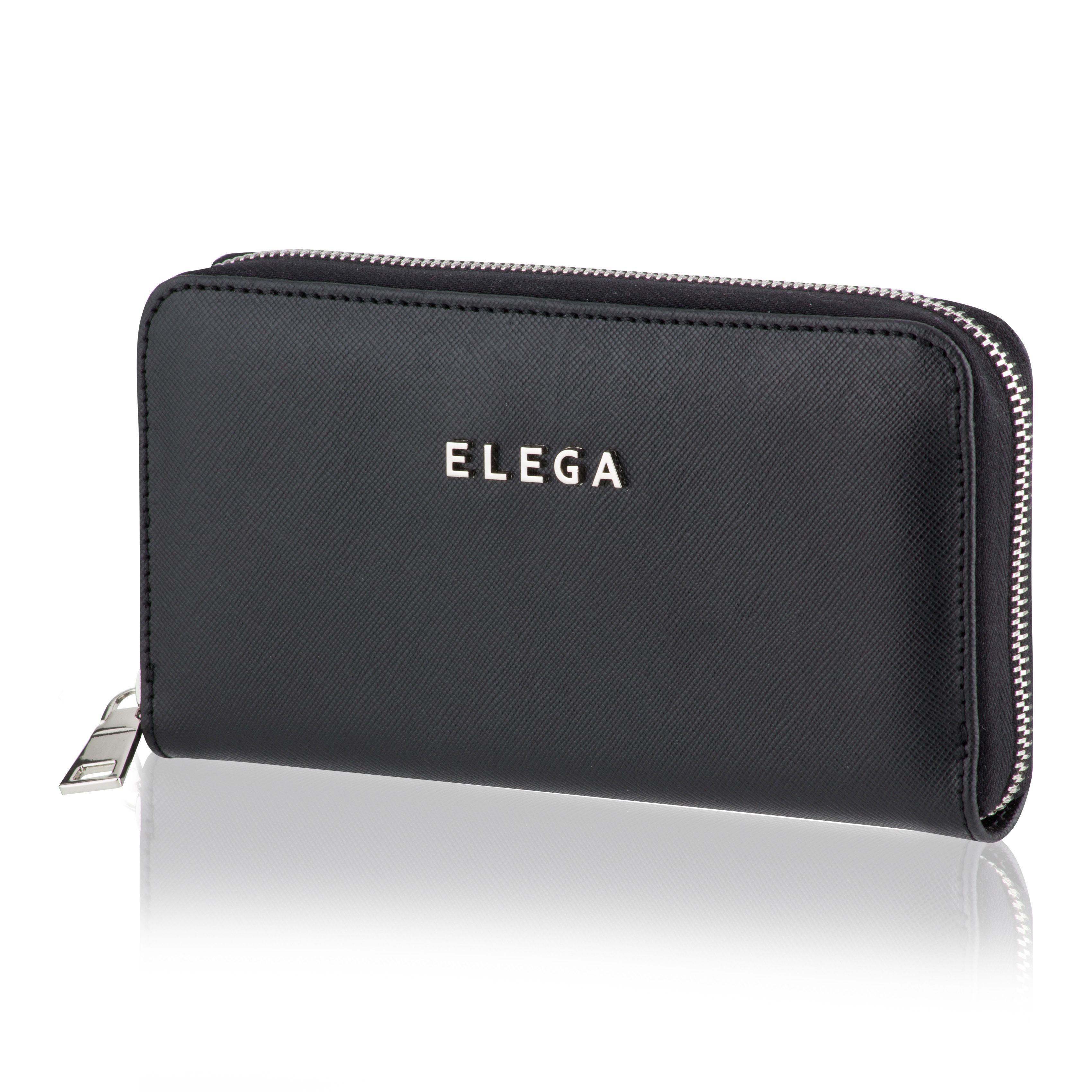 Dámská peněženka ELEGA Samara Saffiano černá se stříbrným kováním