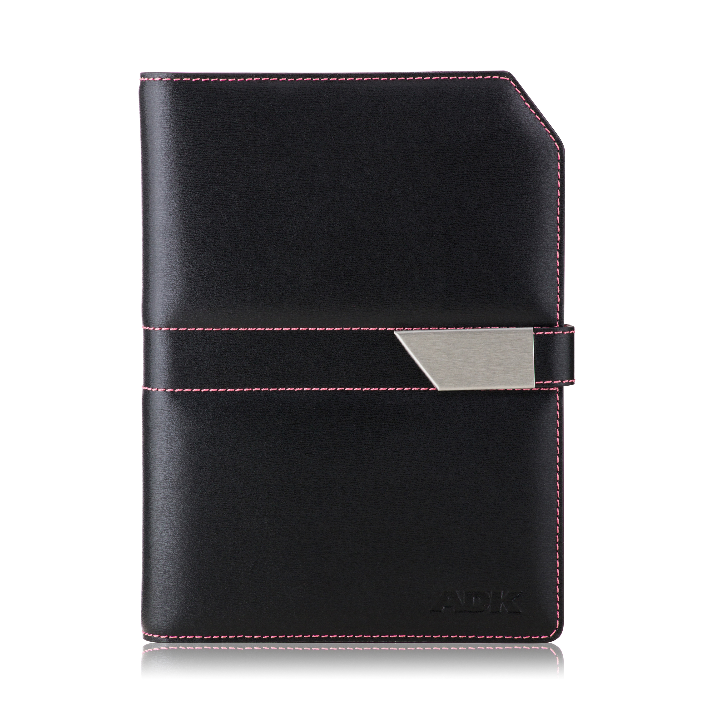 Diář ADK NewContrast Slim 2021 černý s růžovým vnitřkem a kontrastním šitím
