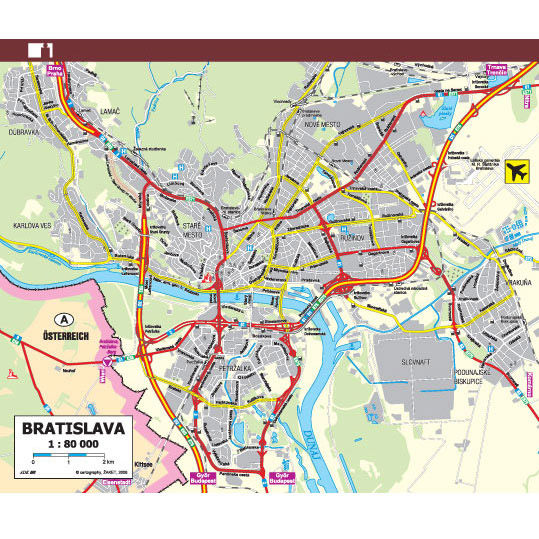 Mapa SR a Bratislavy A6 (1 dvojlist)