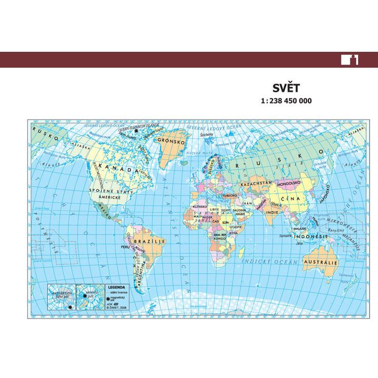 Mapa světa a časová pásma A6 (1 dvojlist)