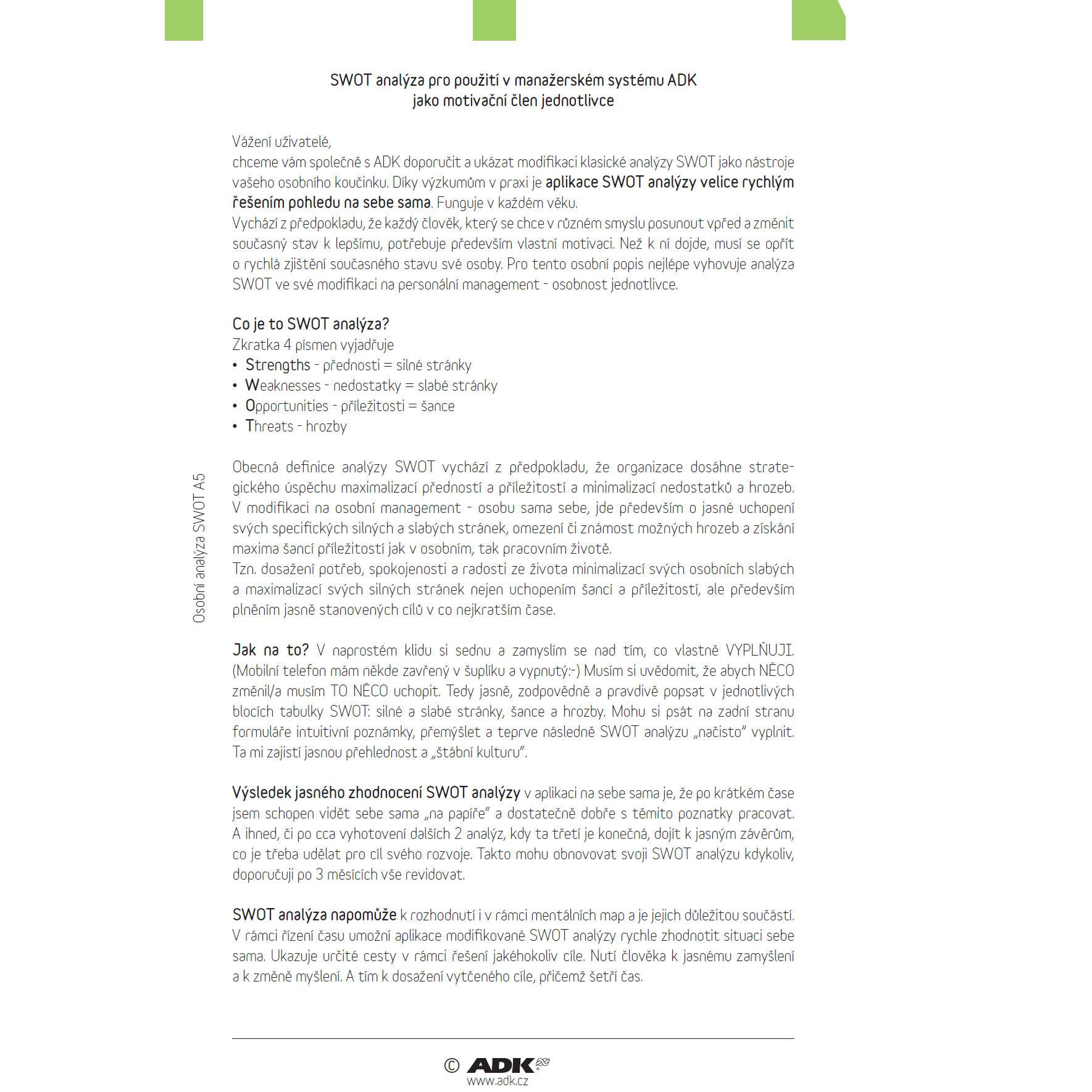 Formulář Osobní SWOT analýza A5 (1 list a 11 dvojlistů)