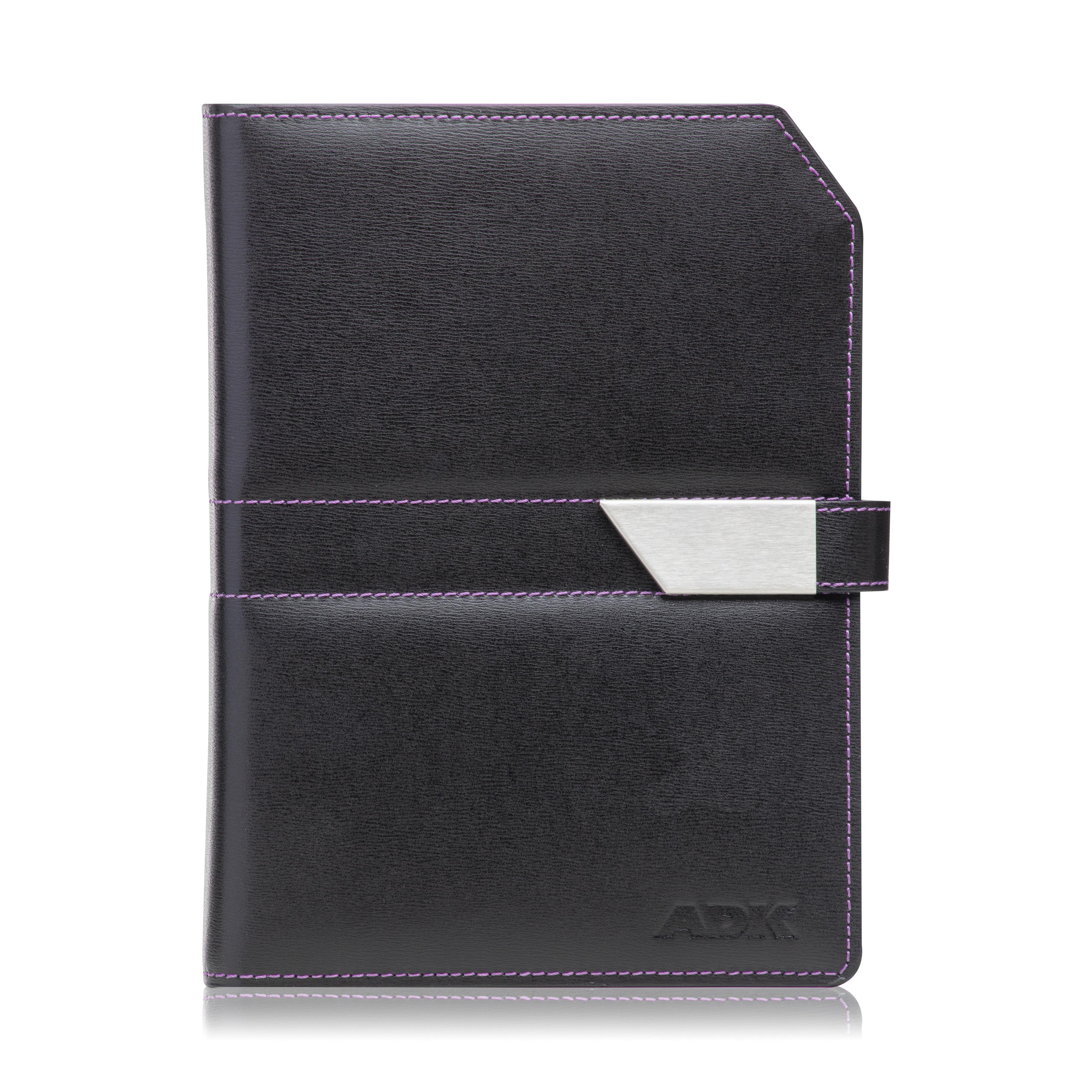 Diář ADK NewContrast Slim 2021 černý s fialovým vnitřkem a kontrastním šitím