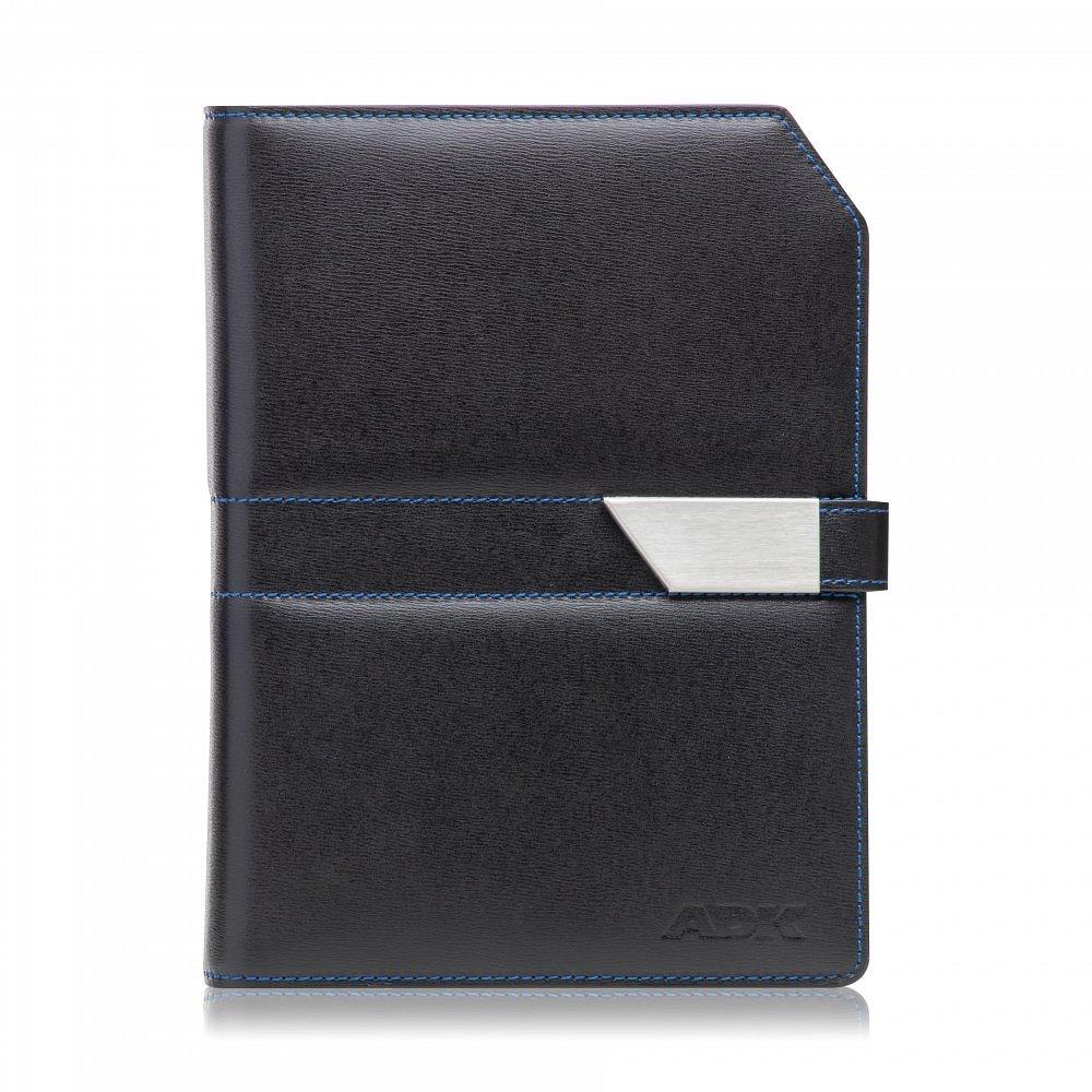 Diář ADK NewContrast Slim 2021 černý s modrým vnitřkem a kontrastním šitím