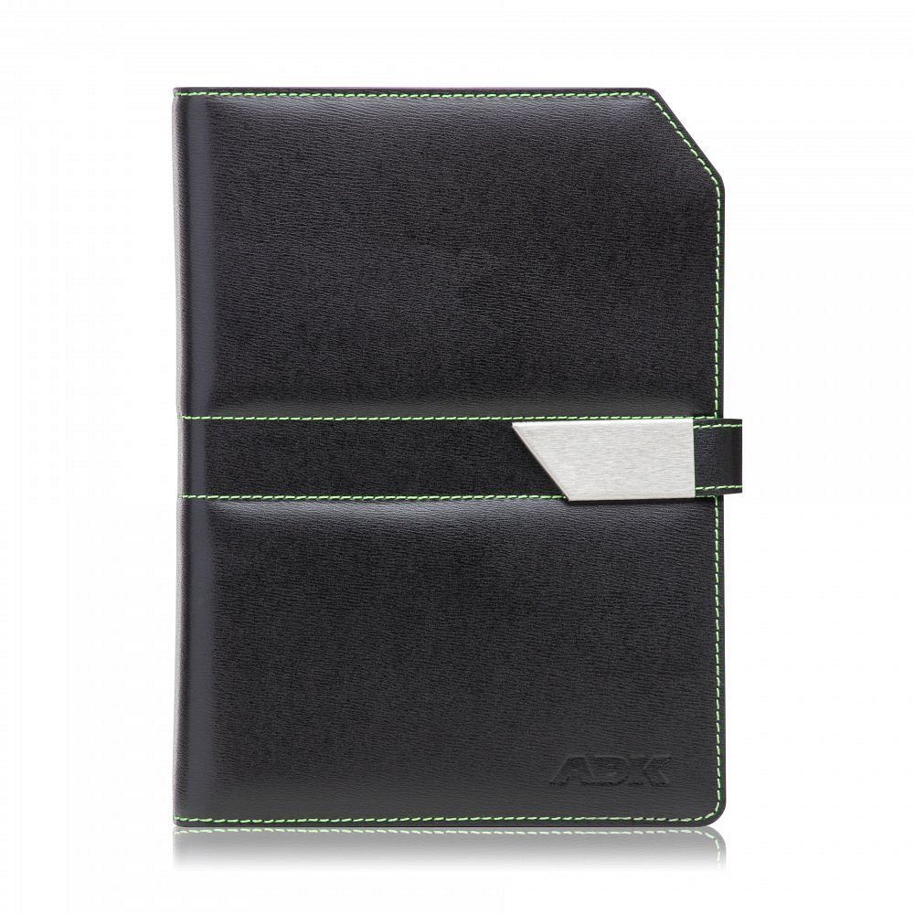 Diář ADK NewContrast Slim 2021 černý se zeleným vnitřkem a kontrastním šitím