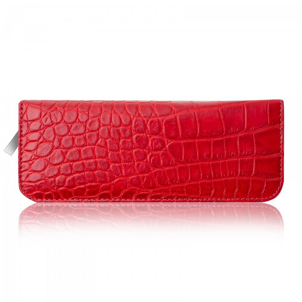 Pouzdro na tužky ADK Luton Croco červené v krokodýlím designu
