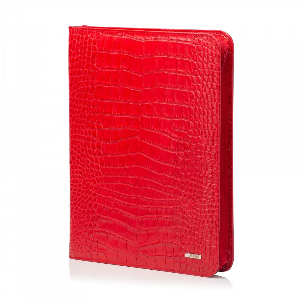 Kožená spisovka ADK Senátor4 Croco červená v krokodýlím designu