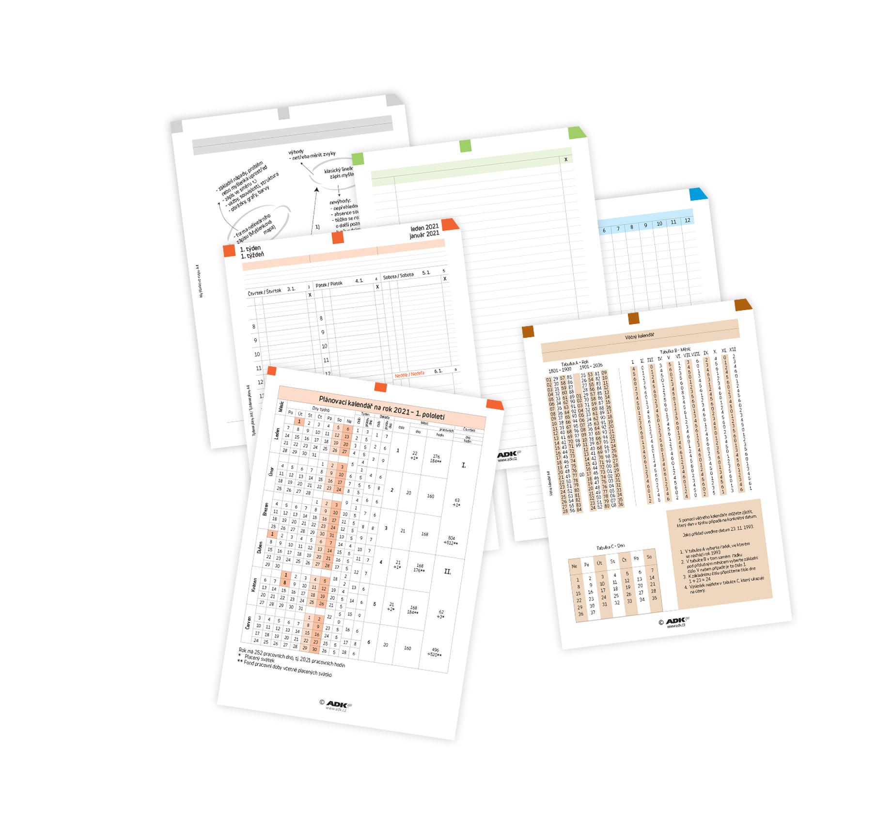 Sada formulářů Týdenní plánování A4 2021