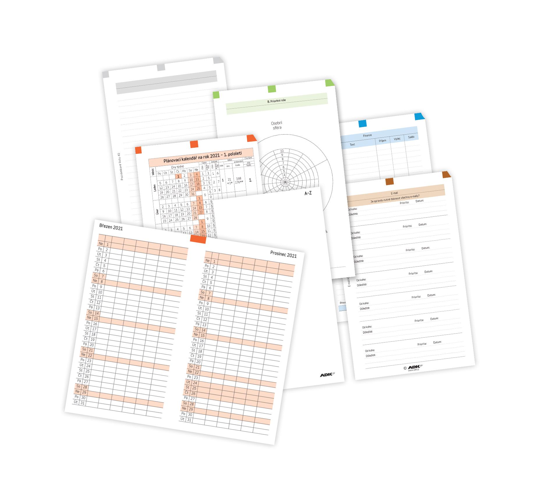 Sada formulářů Týdenní plánovaní A5 2021