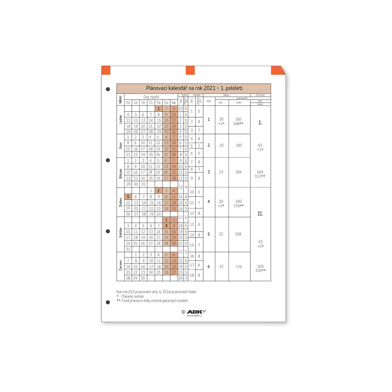 Formulář Plánovací kalendář A4 2021 (1 list)