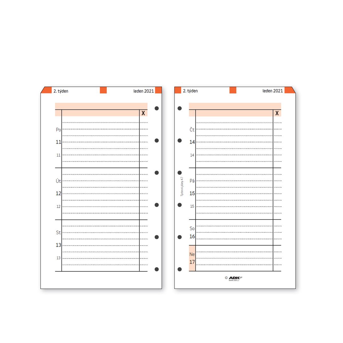 Formulář Týdenní plán A7 2021 (53 listů)