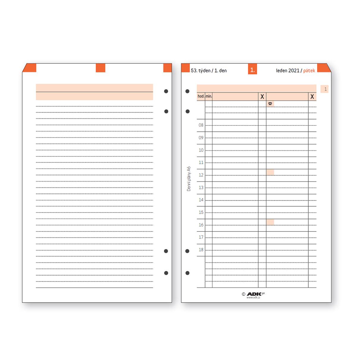 Formulář Denní plán termínovaný A6 2021 (365 listů)