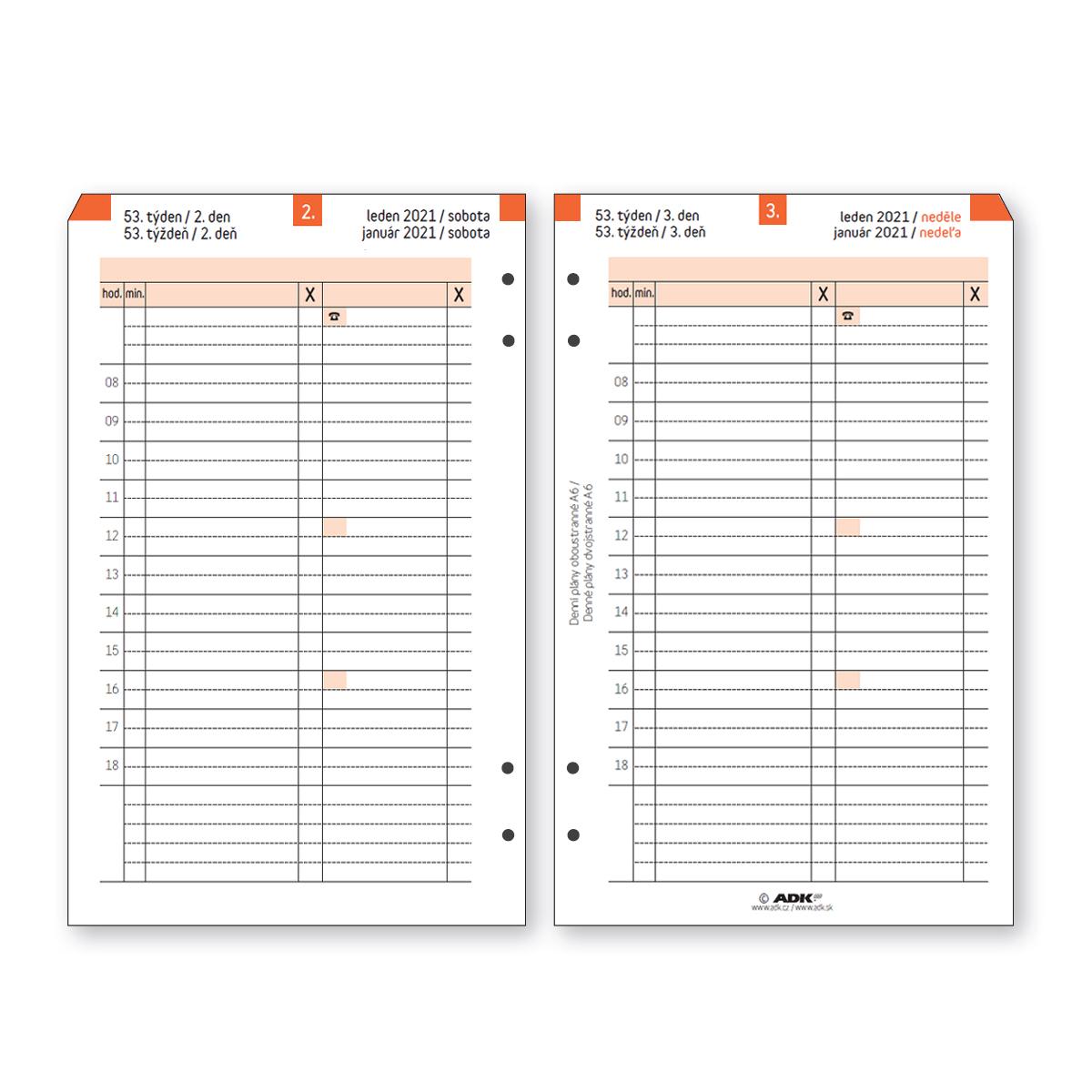 Formulář Denní plán A6 termínovaný oboustranný 2021 (183 listů)