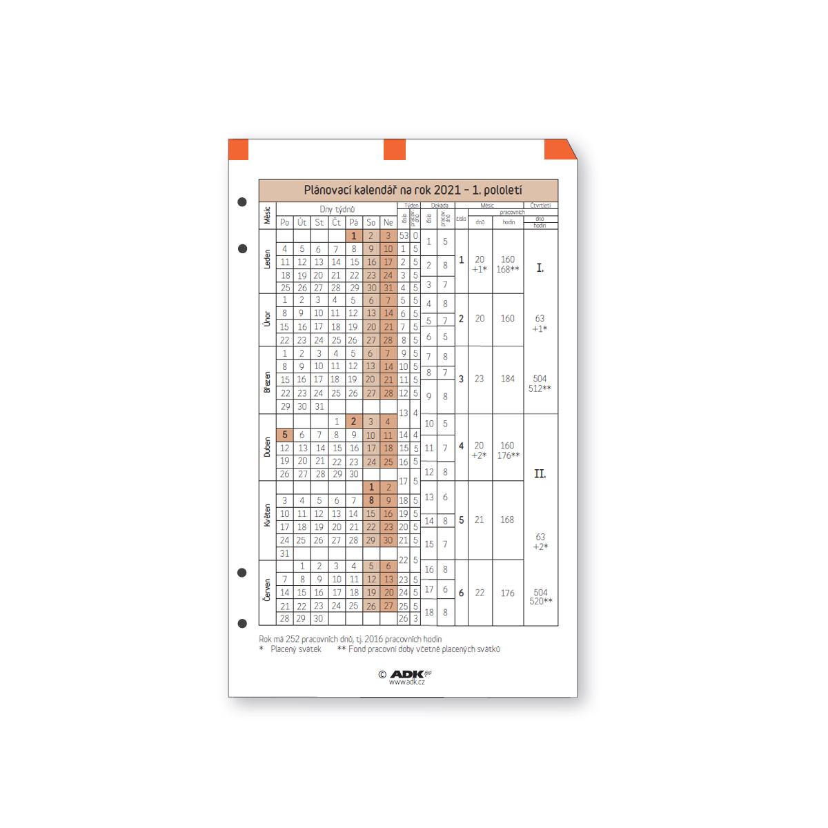 Formulář Plánovací kalendář A6 2021 (1 list)