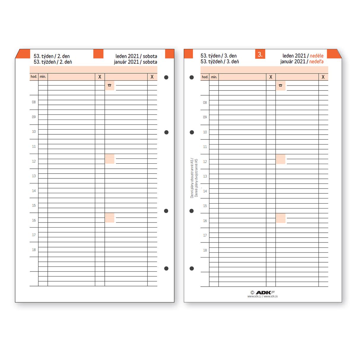 Formulář Denní plán termínovaný A5 2021 oboustranný (183 listů)