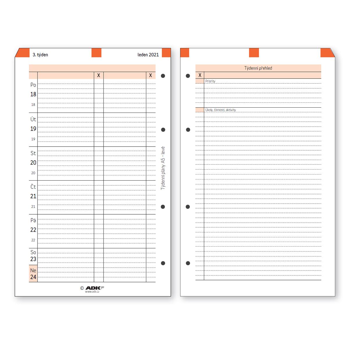 Formulář Týdenní plán A5 levý 2021 (53 listů)