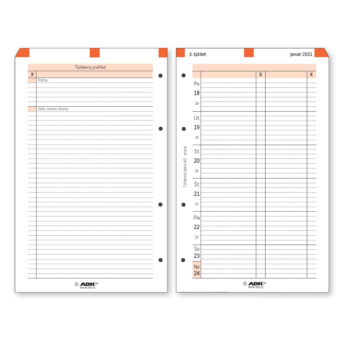 Formulář Týdenní plán A5 pravý 2021, SLOVENSKÝ (53 listů)