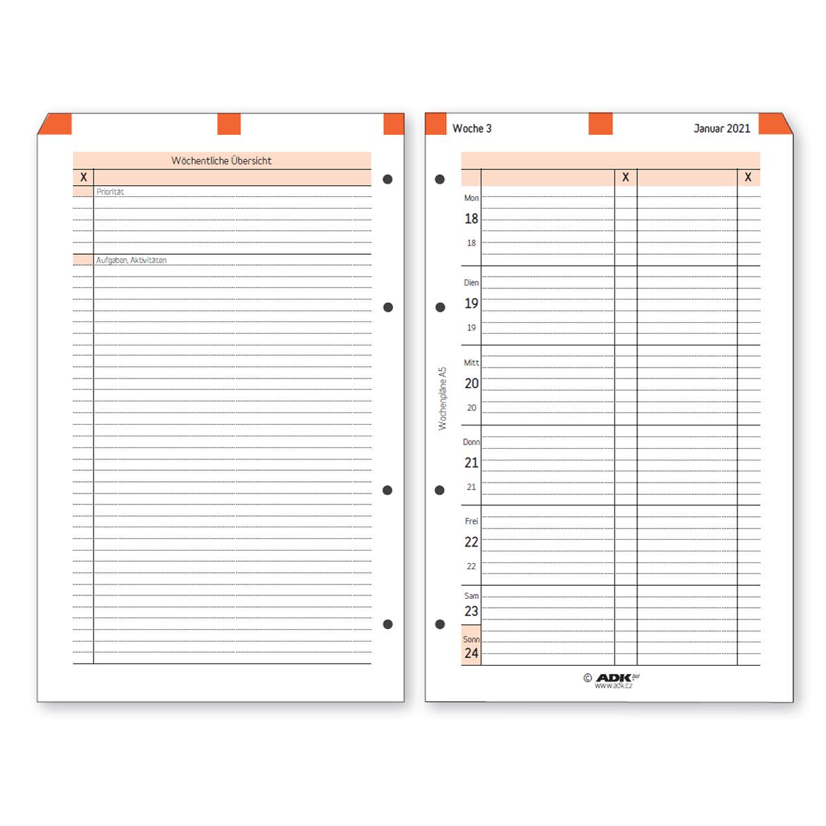 Formulář Týdenní plán A5 pravý 2021, NĚMECKÝ (53 listů)